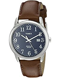 Men's TW2P75900 Easy Reader Brown/Silver-Tone/Blue Leather Strap Watch
