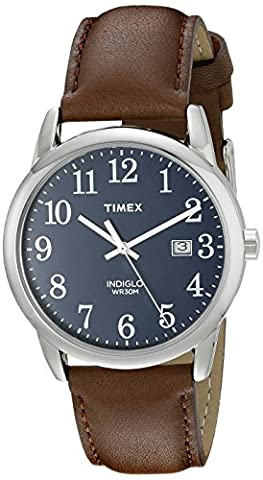Timex Men's TW2P75900 Easy Reader Blue Dial Brown Leather Strap Watch (Watch With Date)