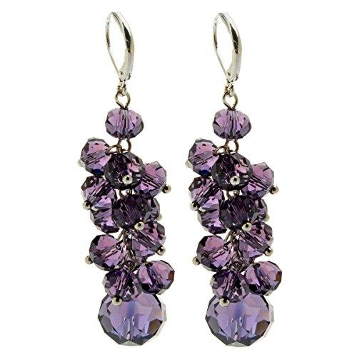 [Qise Colorful Cluster Crystal Glass Beads Dangle Earrings Beaded Linear Drop Earrings (Purple )] (Purple Bead Earrings)
