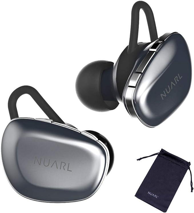 【NUARL公式限定】完全 ワイヤレス イヤホン N6 (シルバー) + 専用ポーチ【Bluetooth 5.0 / aptX AAC / IPX4耐水 / 高音質HDSS採用 / 連続11時間再生(最大55時間) / テレワーク WEB会議 ハンズフリー通話/iPhone Android 対応】