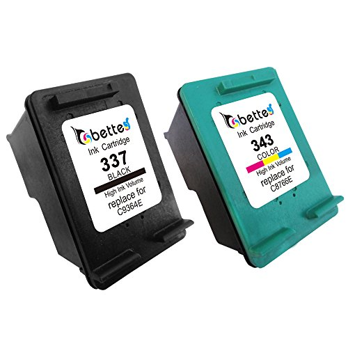 337 Black Inkjet (Bette Compatible HP 337 C9364E 343 C8766E (for Europe Printers) Remanufactured Inkjet Printer Ink Cartridges (Combo Pack, 1 Black + 1)