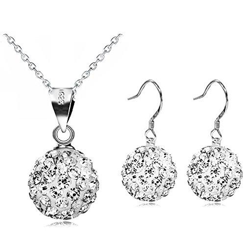Mariée Argent et boules de cristal Blanc Parure Collier et boucles d'oreilles pendantes Femme–S764