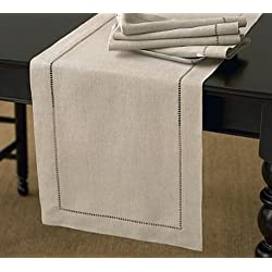"Handmade Classic Hemstitch Natural Table Runner. 18""x108"" Rectangular. One Piece."