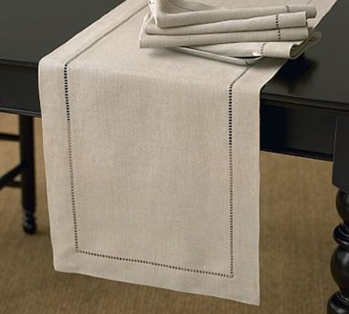 Handmade Hemstitch Design Natural Table Runner. One Piece. 16×90 Rectangular.