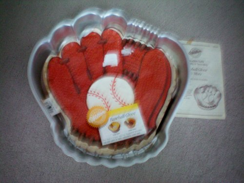 Wilton Baseball Glove Cake Pan -- Holiday Turkey [Thanksgiving] Cake Pan -- Happy Bunch [Bananas] Cake Pan -- With Instructions -- 1987