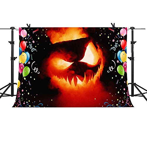 MTMETY 10X7ft Fantasy Flame Pumpkin Colorful Balloons Background for Halloween Theme Party Photography Photo Video Studio Props Backdrop -