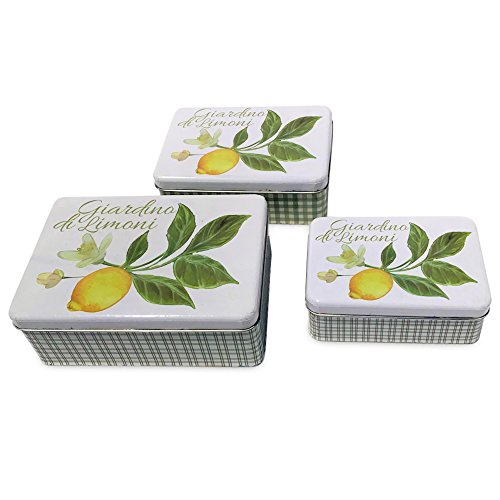 Whole House Worlds The Italian Garden Lemon with Blossoms and Leaves Cookie Tins, Set of 3 Boxes with Lids,Tin Plate, Rustic Vintage Style, Various Sizes, ()