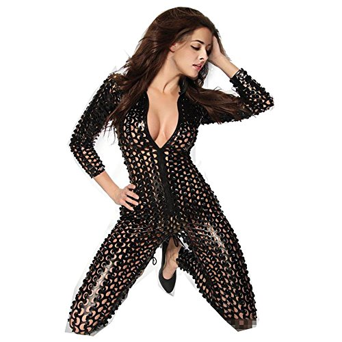 - 51MzEvsrf3L - Fashion Queen One-Piece Scaly Jumpsuit Punk Metallic 3D Hollow Up Catsuit Plus Size
