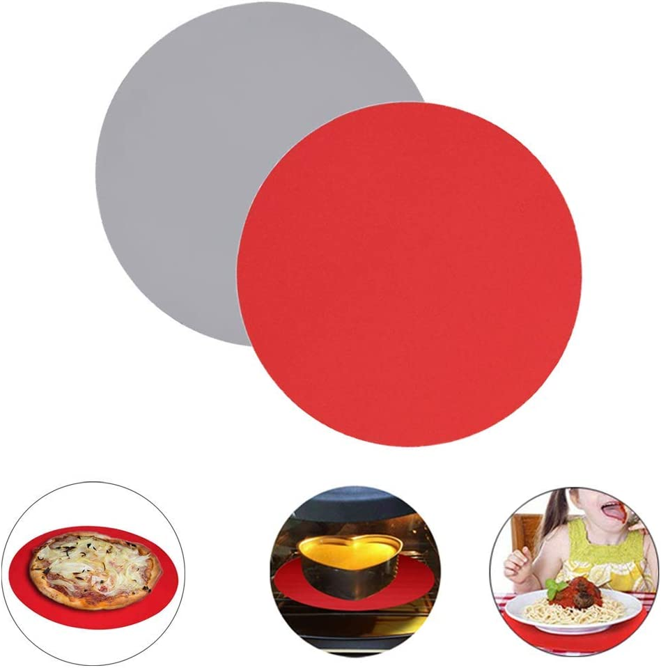 OakMethod 12 Inch Silicone Microwave Mat-2 Pack Non-Stick Microwave Turntable Mat-Heat Resistant Oven Mat Baking Mat for Kitchen (Grey+Red)