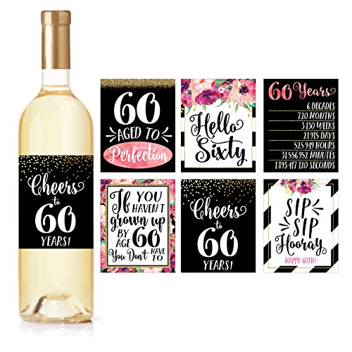 6 60th Birthday Wine Bottle Labels or Stickers Present, 1958 Bday Milestone Gifts For Her Women, Cheers to 60 Years Funny Sixty Chic Pink Black Gold Party Decoration Centerpiece Supplies For Wife, Mom by Hadley Designs