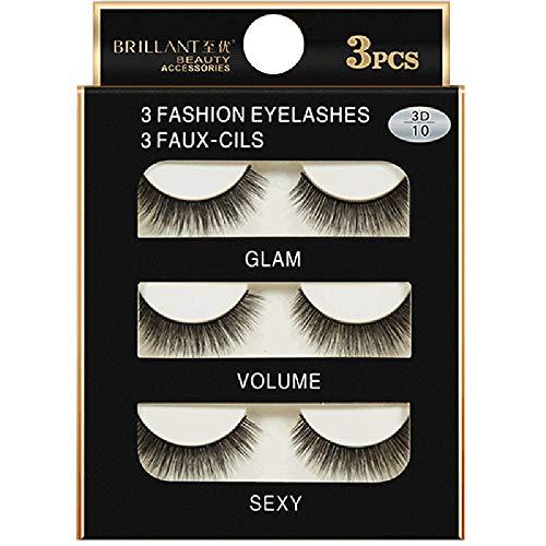 3 Pairs 3D Long False Eyelashes Makeup Natural Fake Thick Black Eye Lashes