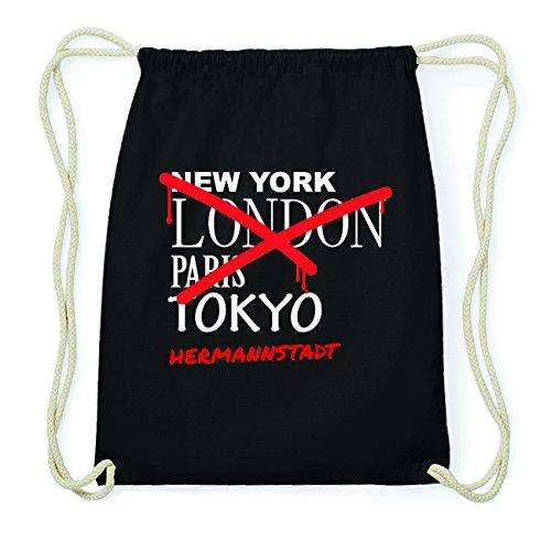 JOllify HERMANNSTADT Hipster Turnbeutel Tasche Rucksack aus Baumwolle - Farbe: schwarz Design: Grafitti f07P26Lsrf