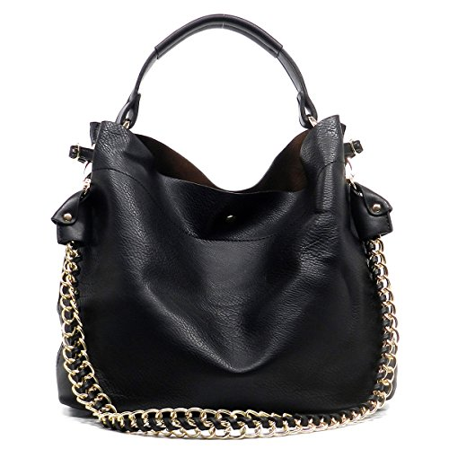 Americana Bucket Style Hobo Shoulder Bag with Big Chain Strap 2 in 1 - Black 1 Leather Handbag