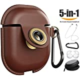 AirPods Case Leather, AirPods Cover Accessories Keychain Protect Waterproof Retro Cases Compatible Apple AirPods (Brown)