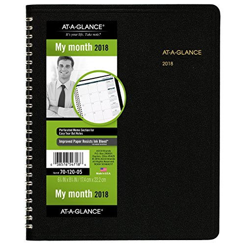 "AT-A-GLANCE Monthly Planner, January 2018 - December 2018, 6-7/8"" x 8-3/4"", Black (7012005)"