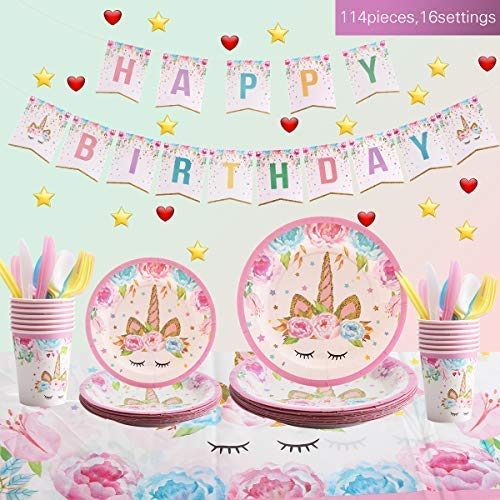Unicorn Party Supplies Set For Birthday - Set of 16 Including Cake Plates, Cups, Napkins, Tableware, Table Cover, Birthday Banner, Magical Fantasy Birthday Decoration for Girls