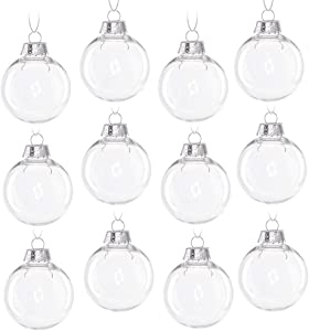 12pcs Christmas Clear Baubles, Transparent Ball Plastic Fillable Sphere Ornament for Xmas Tree/Home Decoration/Wedding/Birthday/Party/Gift (6cm, Set of 12Pcs with lid)