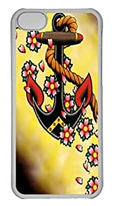Anchor Flowers Custom iPhone 5C Case Cover Polycarbonate Transparent by mcsharks
