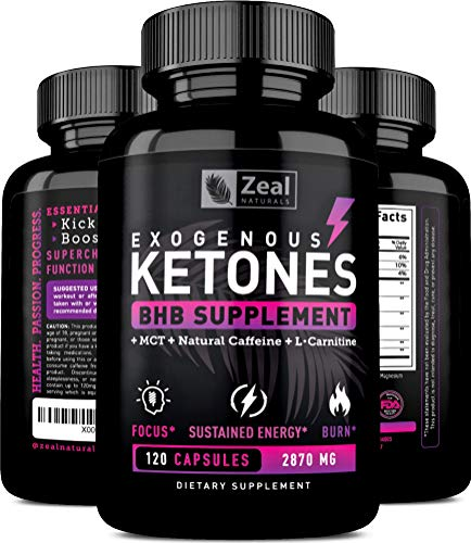 Exogenous Ketones BHB Keto Pills (2870mg | 120 Capsules) Keto Diet Pills w. MCT Oil, BHB Salts Beta Hydroxybutyrate, Natural Caffeine - Keto Supplement for Keto Weight Loss - Keto Diet from Shark Tank