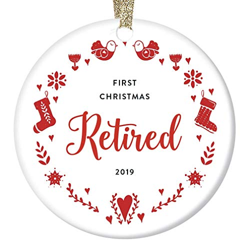 Retirement Christmas Ornament 2019 Dated Keepsake Gift Idea First Year Retired Mom Wife Sister Woman Coworker Work Party Present Teacher Nurse Holiday Wreath 3