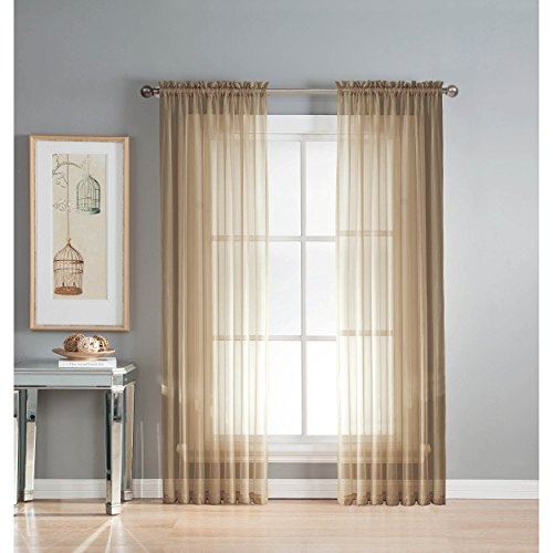 Window Elements Sheer Elegance Rod Pocket 108 x 84  in. Curtain Panel Pair, Taupe (Sheer Curtain Ideas For Living Room)
