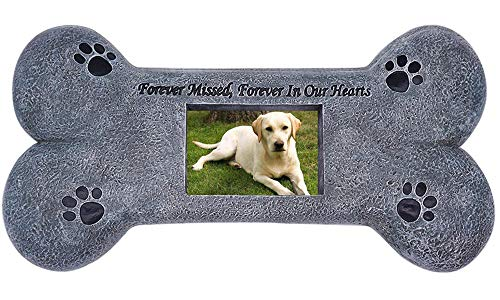 Puppycute Bone Shape Pet Memorial Stone - Personalized Tombstone with a Photo Frame - Indoor Outdoor Garden Backyard Grave Maker for Dog or Cat - Loss of Dog Gift - Pet Memorial Gifts