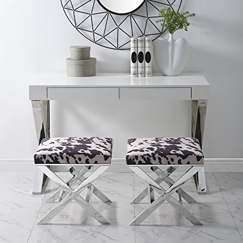 Drake Brown Velvet Upholstered Ottoman - Faux Cowhide | Stainless Steel | Chrome X-legs | Inspired Home (Cow Print Ottoman)