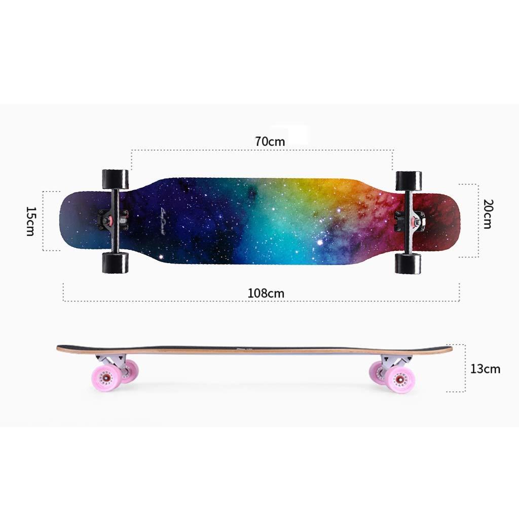 HXGL-Skateboard Skateboard Longboard Brush Street Dance Board Four-Wheeled Scooter Beginner Adult Teen Girls Boys Professional Skateboard (Color : Blue) by HXGL-Skateboard (Image #6)