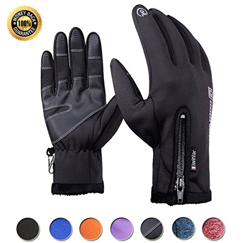 Achiou Cycling Touchscreen Gloves Winter Warm Waterproof Bike Gloves Outdoor Sports Running Climbing Skiing for Men Women (Black #1, M)