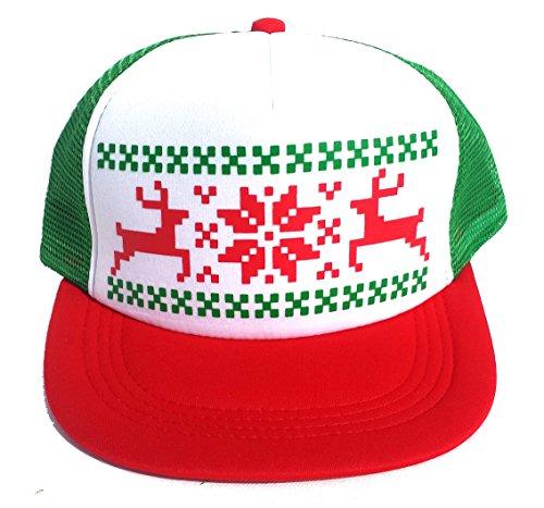 ThatsRad Reindeer Ugly Christmas Sweater Party RWG Snapback Mesh Trucker Hat -