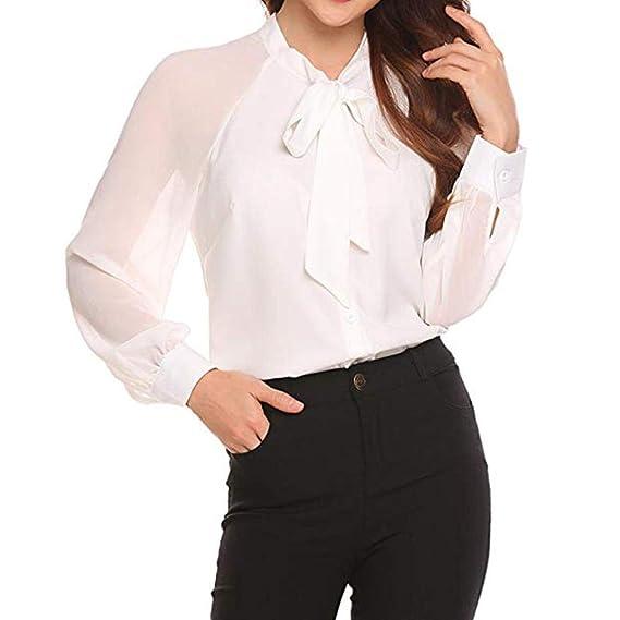 LuckES Blusas Delgadas del Trabajo de Las Mujeres, Camisa de Pajarita con Manga raglán sin
