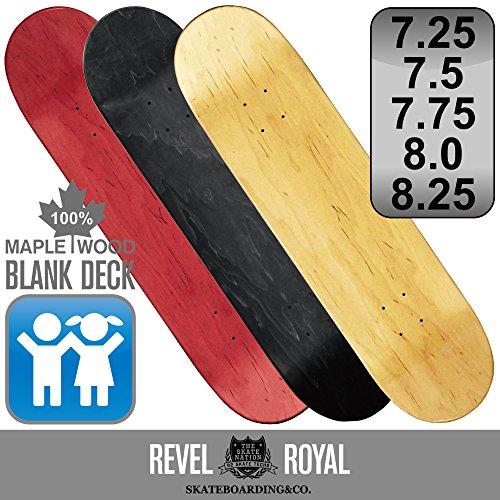 協定抜本的な腐敗REVEL ROYAL スケートボード エリート ブランク デッキ スケボー 木目 無地 ナチュラル ブラック レッド 100% メイプル 7.25 7.5 7.75 8.0 8.25