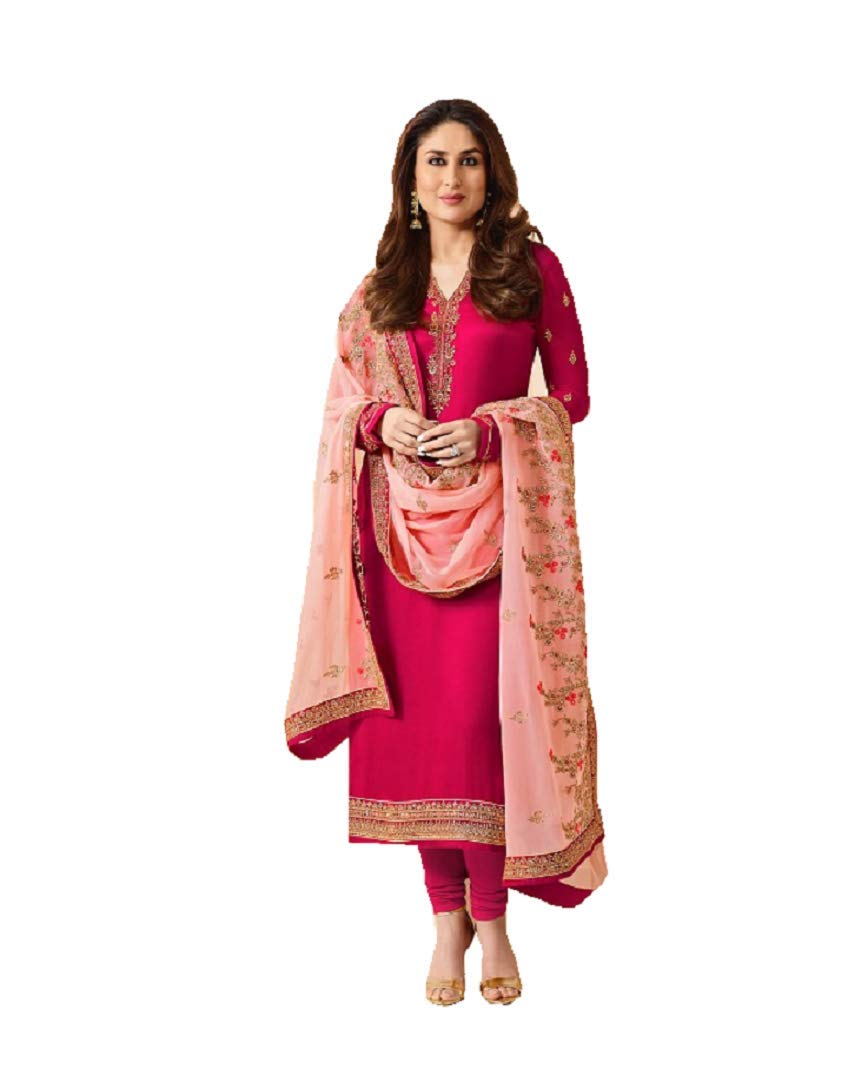 Delisa Ready Made New Designer Indian/Pakistani Fashion Dresses for Women  (Pink, XX-LARGE-46)