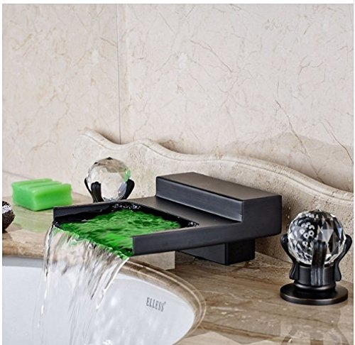 Gowe Widespread LED Waterfall Spout Bathroom Sink&Tub Faucet Oil Rubbed Bronze Deck Mounted Double Handles 3 Holes 0