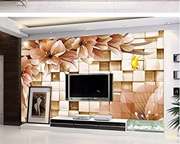 Lwcx 3d Wallpaper For Room Home Decoration 3d Bathroom Wallpaper Fantasy Flower Box 3d Stereo Tv Backdrop 180x120cm Amazon Com