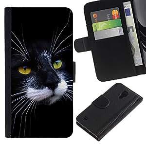 OMEGA Case / Samsung Galaxy S4 IV I9500 / black white cat house American wirehair / Cuero PU Delgado caso Billetera cubierta Shell Armor Funda Case Cover Wallet Credit Card