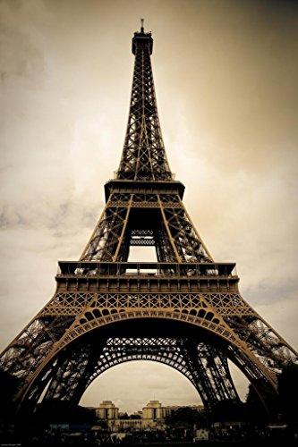 - Eiffel Tower Paris France Sepia Photo Art Print Mural Giant Poster 36x54 inch