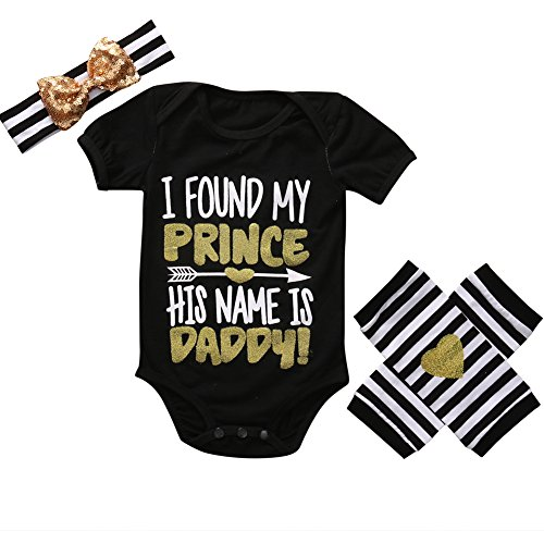 ONE'S 3PCS Newborn Infant Baby Girls Bodysuit+Leg Warmer+Headband Outfits Set (0-3 Months, Black) (Show Girl Outfits)