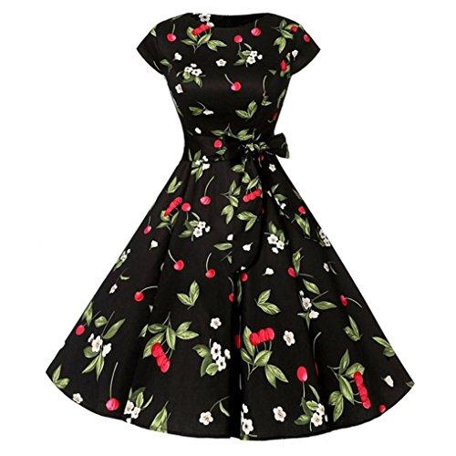 Zarupeng Damen Vintage Blumen Gedruckt Kleid Bodycon Kurzarm ...
