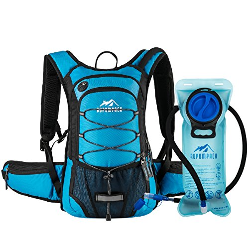RUPUMPACK Insulated Hydration Backpack Pack with 2L Water Bladder - Keeps Liquid Cool up to 4 Hours, Prefect Outdoor Gear for Hiking, Running, Cycling, Camping, Skiing, Blue