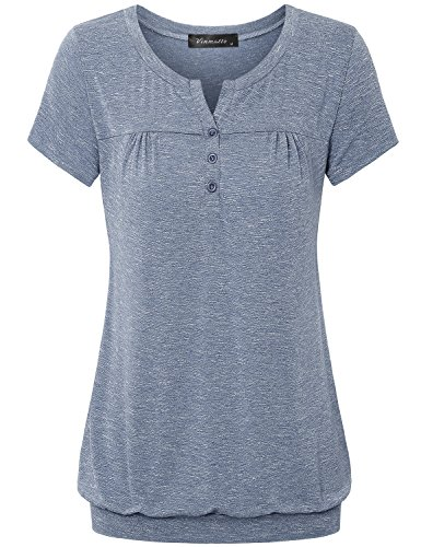 Vinmatto Women's Henley V Neck Pleated Button Details Banded Hem Blouse Top(XL,Grey ()