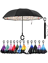 Car Inverted Umbrella Double Layer Windproof Reverse Umbrella for Rain Sun