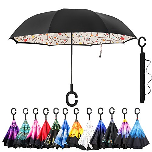 Amagoing Car Inverted Umbrella Double Layer Windproof Reverse Umbrella for Rain (Day Umbrella)