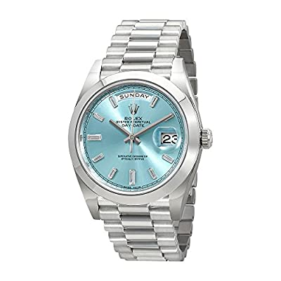 Rolex Oyster Perpetual Day-Date Ice Blue Baguette Dial Platinum President Automatic Mens Watch 228206IBLDP from Rolex
