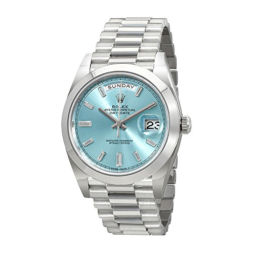 Rolex Oyster Perpetual Day-Date Ice Blue Baguette Dial Platinum President Automatic Mens Watch 228206IBLDP