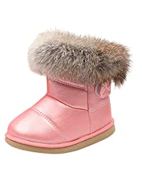 Kids Toddler Baby Boys Girls Snow Boots,Winter Waterproof Leather Martin Boots Warm Thick Plush Bootie Shoes