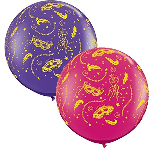 Qualatex Mardi Gras Party-A-Round Giant 3 Foot Latex Balloons (2 Pack)