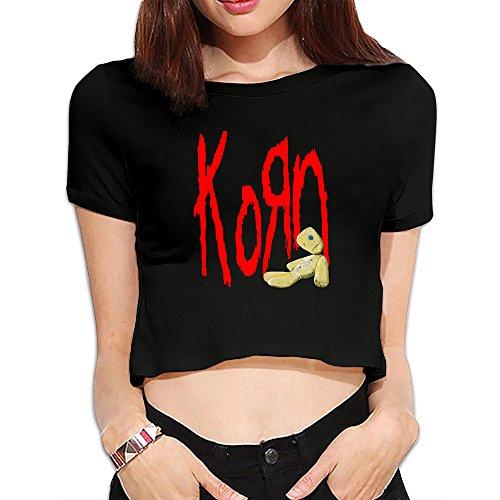 Women's Korn Logo Doll Crop Top T Shirt Black (Korn Printed T-shirts)