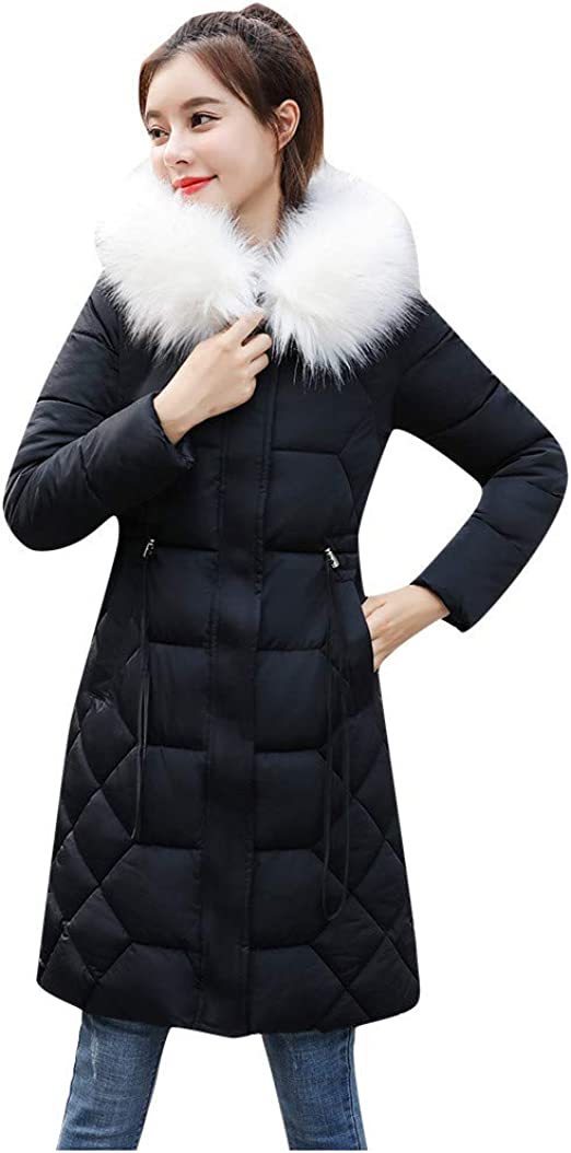 Womens Thicken Faux Fur Coat Winter Warm Jacket Long Parka Outwear Smooth Sweet