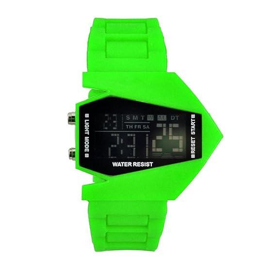 Reloj LED Digital de Moda Deportivo, Reloj de avión, Color Verde (FGVBHTR)